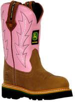 John Deere Infant/Toddler Girls' Boots Leather Wellington 1185 - Pink/Tan Boots