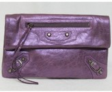 Balenciaga pristine (PR Purple Crackled Metallic Leather Envelope Clutch Bag, Sold Out in Stores