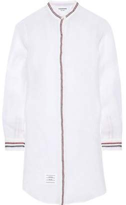 Thom Browne Broderie Anglaise-trimmed Silk-organza Mini Shirt Dress