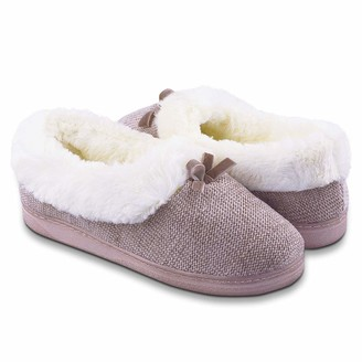 Lulex Womens Fuzzy Slippers Plush Fluffy Fur Lined Memory Foam Slip on Comfy Winter Warm Anti-Slip House Shoes Indoor Outdoor Pink UK 6
