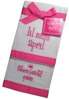 Mud Pie Lil Miss April Future Beauty Queen Baby Burp Cloths - Set of 2