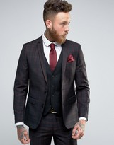 Harry Brown Slim Fit Suit Jacket In Red Large Check