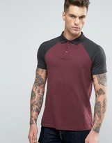 Asos Contrast Raglan Polo Shirt In Red And Blue