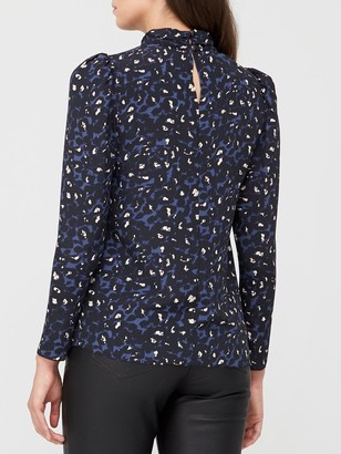 Very Printed High Neck Long Sleeve Shell Top - Blue/Animal