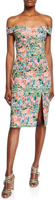 Aidan Mattox Floral Off-the-Shoulder Short-Sleeve Crepe Dress with Slit