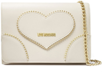 Love Moschino Studded Faux Textured-leather Clutch