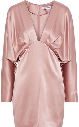 Cushnie Pleated Draped Silk-satin Mini Dress