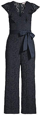 Rebecca Taylor Women's Clover Cap-Sleeve Lace Eyelet Tie-Waist Jumpsuit