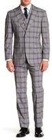 English Laundry Beige Glenplaid Two Button Peak Lapel Trim Fit Suit