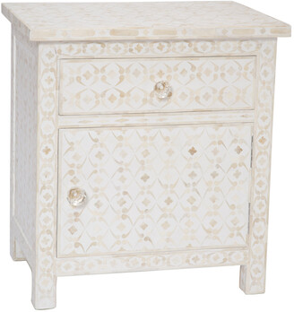 Ruby Star Celeste Bone Inlay 1 Drawer Side Cabinet Geometric White