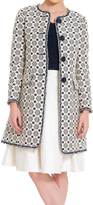 Max Studio by Leon Max Floral Jacquard Coat With Short Fringed Trim