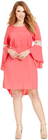 Love Squared Trendy Plus Size Bell-Sleeve Crochet-Trim Dress