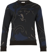 Valentino Panther-print cotton-blend sweatshirt