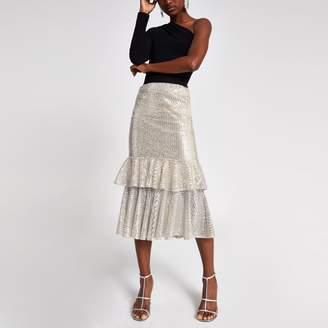 River Island Womens Silver sequin frill midi skirt