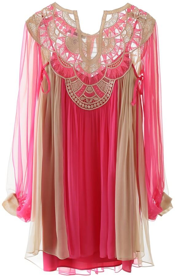 Alberta Ferretti CHIFFON MINI DRESS 40 Beige, Fuchsia Silk