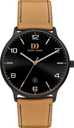 Danish Designs Danish Design Men's Quartz Watch with Blue Dial Analogue Display and Orange Leather Strap DZ120500