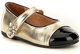 Nina Girl's Krystyn Metallic Leather Floral Embellished Mary Jane