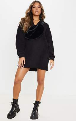 No Name Noname Black Borg V Neck Hoodie Jumper Dress