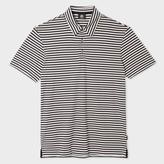 Men's Slim-Fit Navy And Cream Stripe Supima Cotton Polo Shirt
