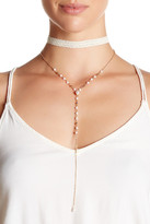 Stephan & Co Lace & Rosary Faux Pearl Drop Choker