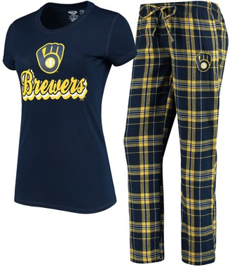 Women's Concepts Sport Navy/Gold Milwaukee Brewers Ethos T-Shirt & Pants Set