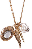 Betsey Johnson Glass Imitation Pearl & Locket Charm Necklace