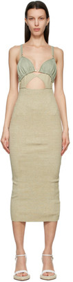 Jacquemus Taupe and Green La Robe Pila Dress