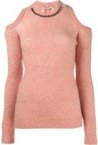 No.21 embellished cold shoulder jumper - women - Polyamide/Spandex/Elastane/Vinyl/glass - 40