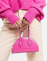 Who What Wear Carson mini half moon bag with cross body strap in pink croc