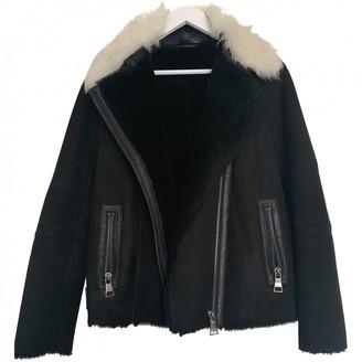 Karl Lagerfeld Paris Black Shearling Coat for Women