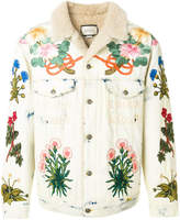 Gucci embroidered shearling-lined denim jacket