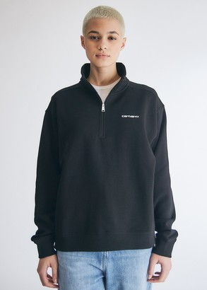 Carhartt WIP Women's Script Embroidery Sweatshirt in Black/White, Size Small | Fleece