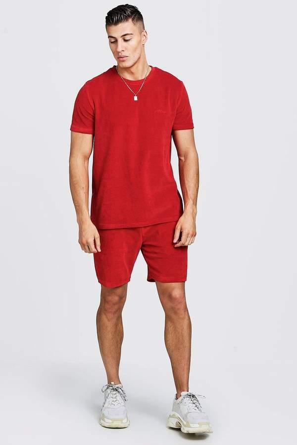 boohoo MAN Signature Velour T-Shirt & Short Set With Zips