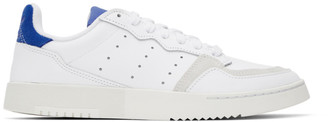 adidas White and Blue Supercourt Sneakers