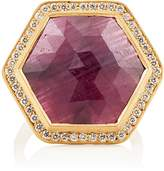 Malcolm Betts Women's Hexagonal Ruby & White Diamond Ring