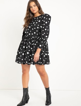 ELOQUII Puff Sleeve Dress With Bubble Hem