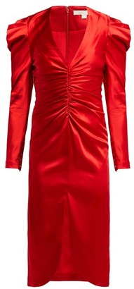 Jonathan Simkhai Puff-sleeve Ruched Satin Midi Dress - Womens - Red