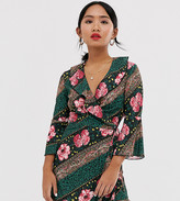 Outrageous Fortune Petite ruffle wrap dress with fluted sleeve in scarf print