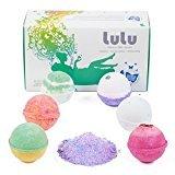 Lulu Bath Bombs Gift Set with Mineral Bubble Bath Powder - 6 Large Tennis Ball Size