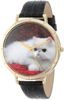 Whimsical Watches Women's N0120025 Persian Cat Black Leather And Goldtone Photo Watch