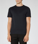 Reiss Reiss Snipe - Tonal Pattern T-shirt In Blue