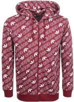 Adidas Originals Full Zip Monogram Hoodie Burgundy
