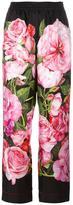 Dolce & Gabbana rose print palazzo pants - women - Silk/Cotton - 42