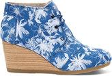 Toms Blue Suede Floral Women's Desert Wedge Booties