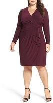 Eliza J Faux Wrap Jersey Dress (Plus Size)