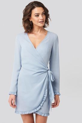 NA-KD Nadine X Frill Detail Tie Waist Mini Dress Blue
