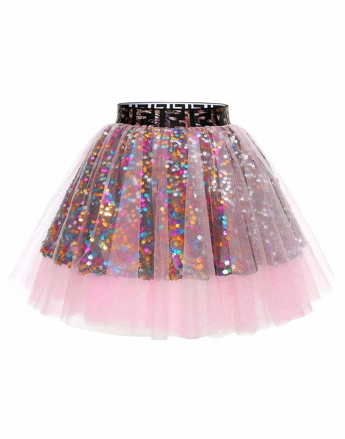 Timormode 10988 A-line Mini Tutu Sequin Skirt Petticoat Tulle Princess Ballet Skirt Party Dress Up Pink L