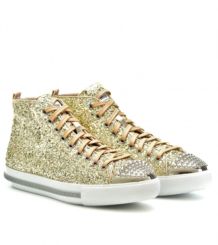 Miu Miu GLITTER HIGH-TOP SNEAKERS