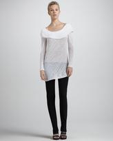 Donna Karan Shawl-Draped Knit Tunic, Zinc