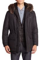 Ermenegildo Zegna Fur-Trim Wool Flannel Parka